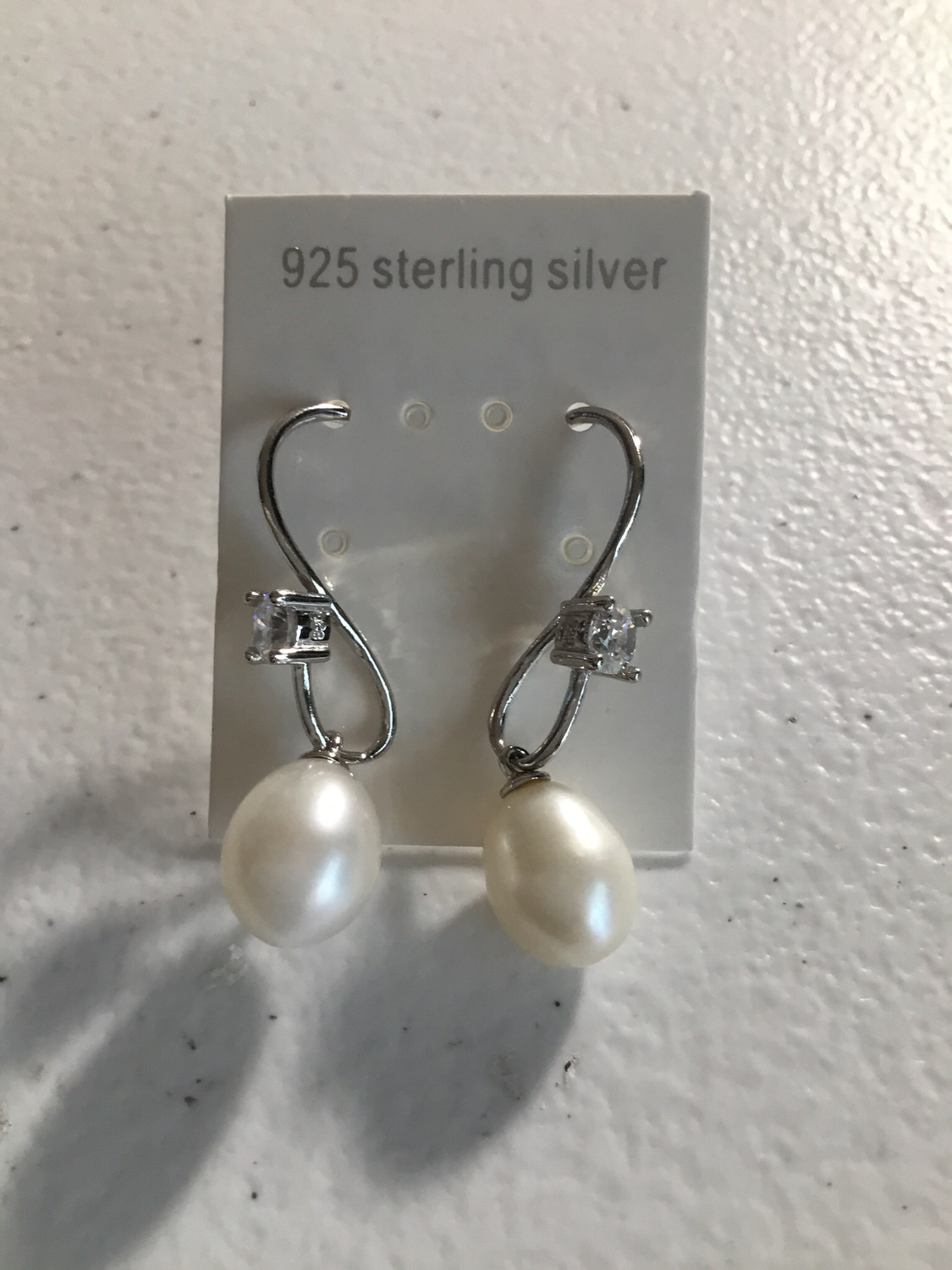 Sterling Silver White Pearl CZ Crystals