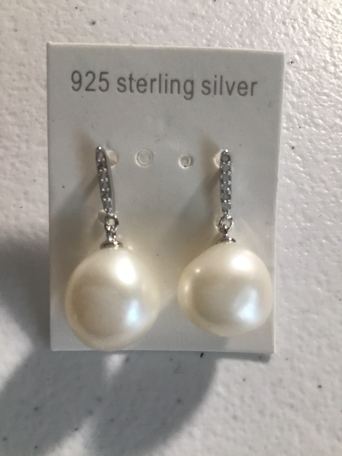 Sterling Silver White Baroque Pearl Earrings
