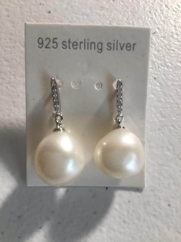 Sterling Silver White Baroque Pearl Earrings