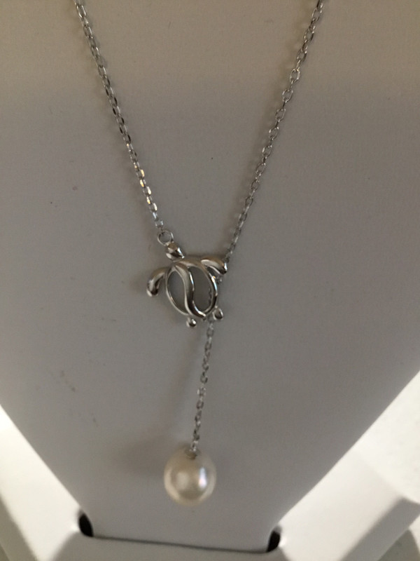 Sterling Silver Turtle Lariat Necklace With Pearl Drop