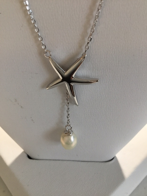 Sterling Silver Starfish Lariat Necklace With Pearl Drop