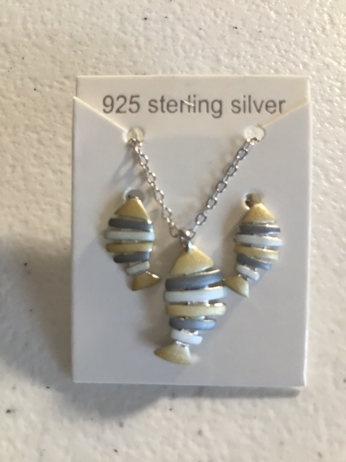 Tri-Color Sterling Silver Fish Necklace And Earring Set