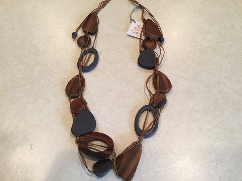 Short Adjustable Sono Wood Necklace With Handmade Beads