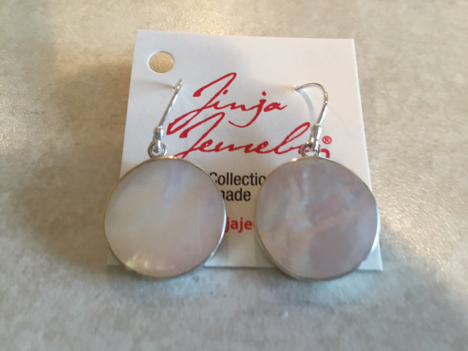 Sterling Silver Round Small Mother of Pearl