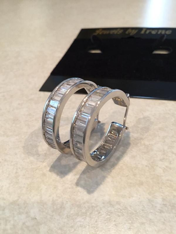 Sterling Silver Medium Baguette Hoop Earrings