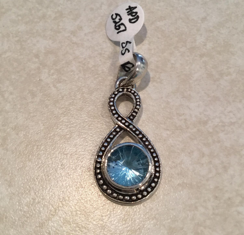 Lovely Blue Topaz Sterling Silver Pendant