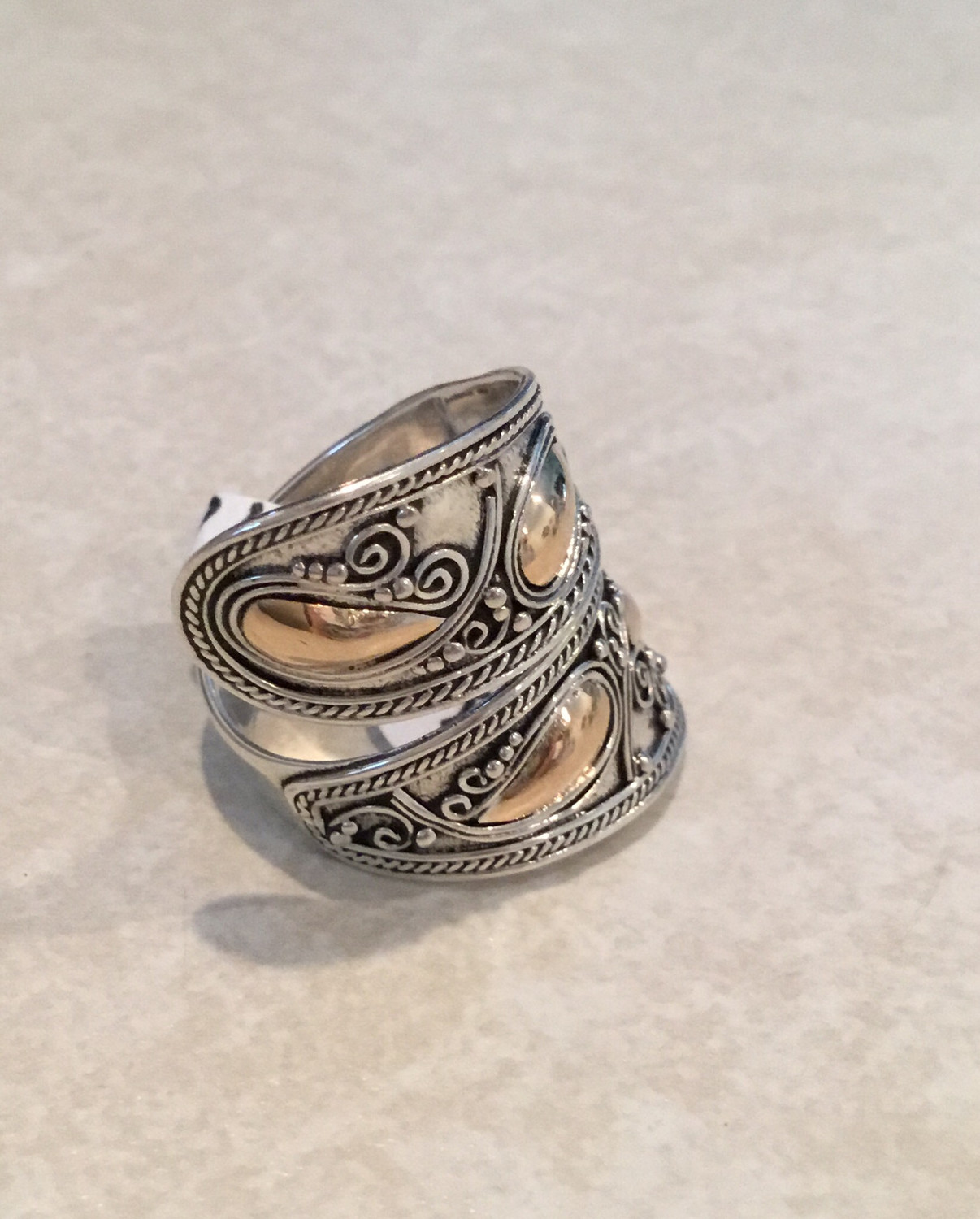 Sterling Silver Spoon Look With Gold Overlay Ring