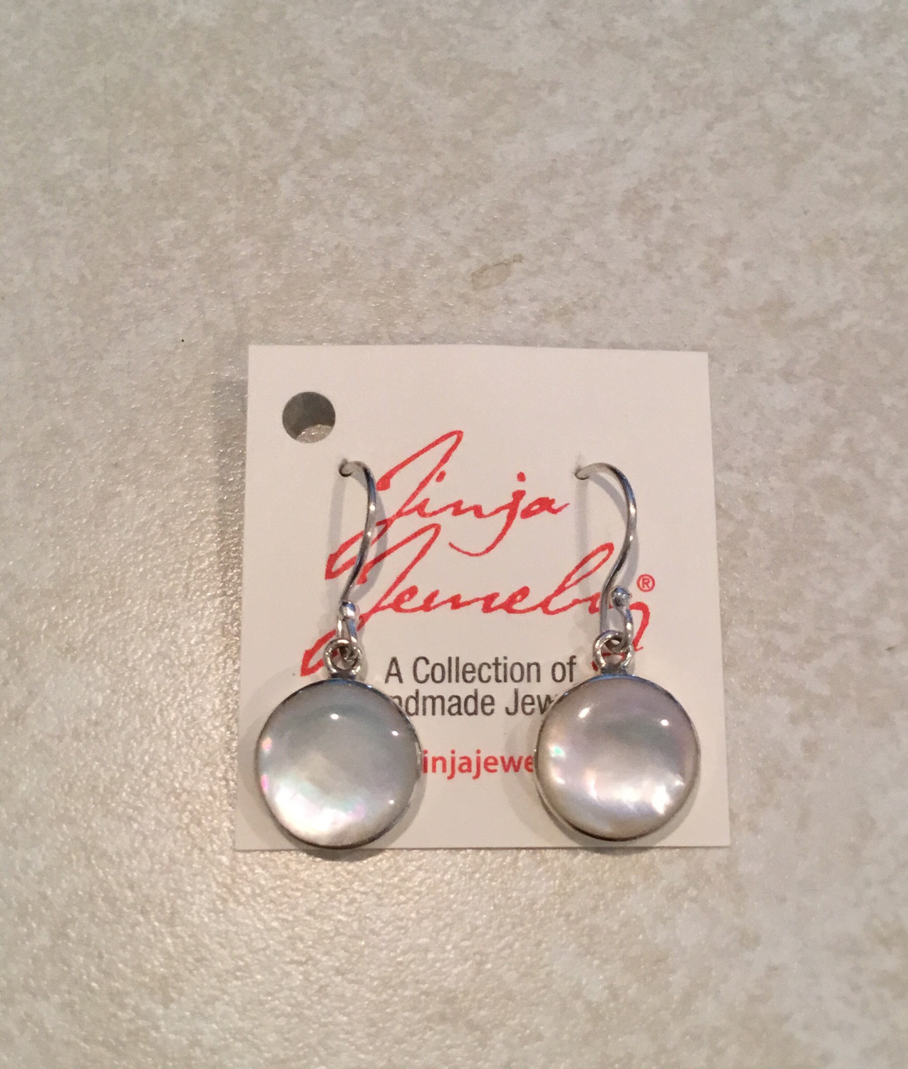 Tiny Sterling Silver Mother Of Pearl Earrings