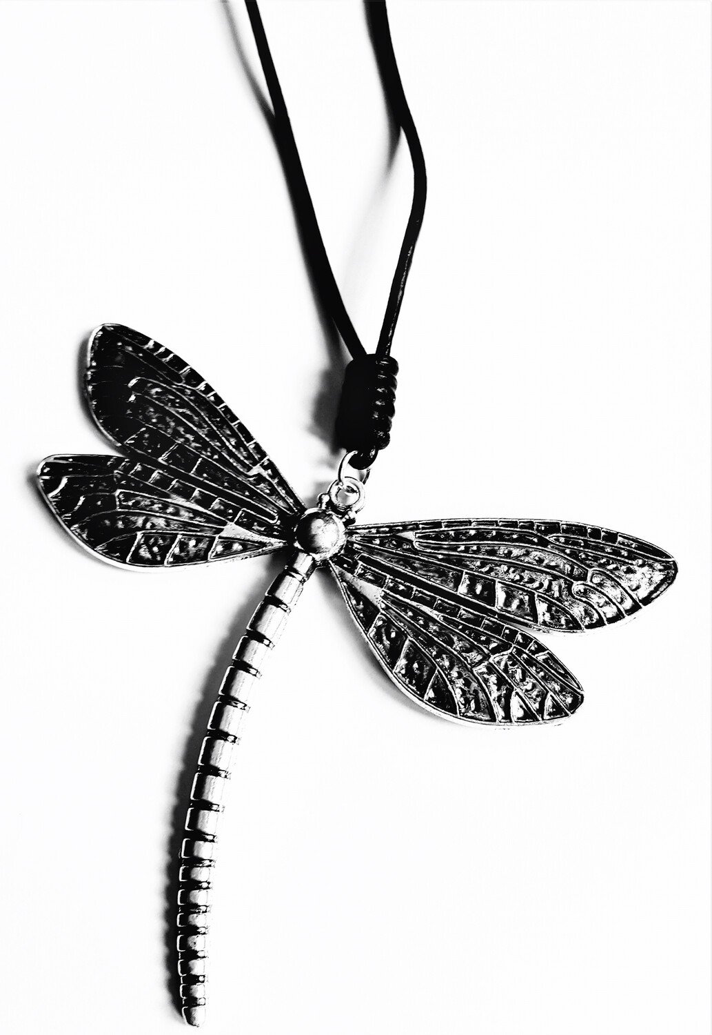 Black Leather Long With Large Dragonfly