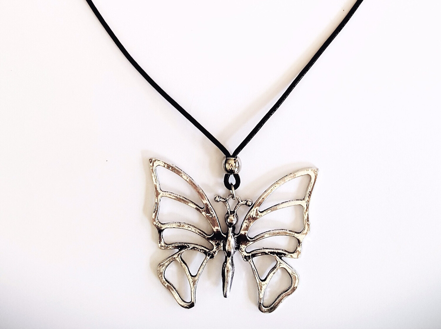 Butterfly Long Black Leather Necklace.