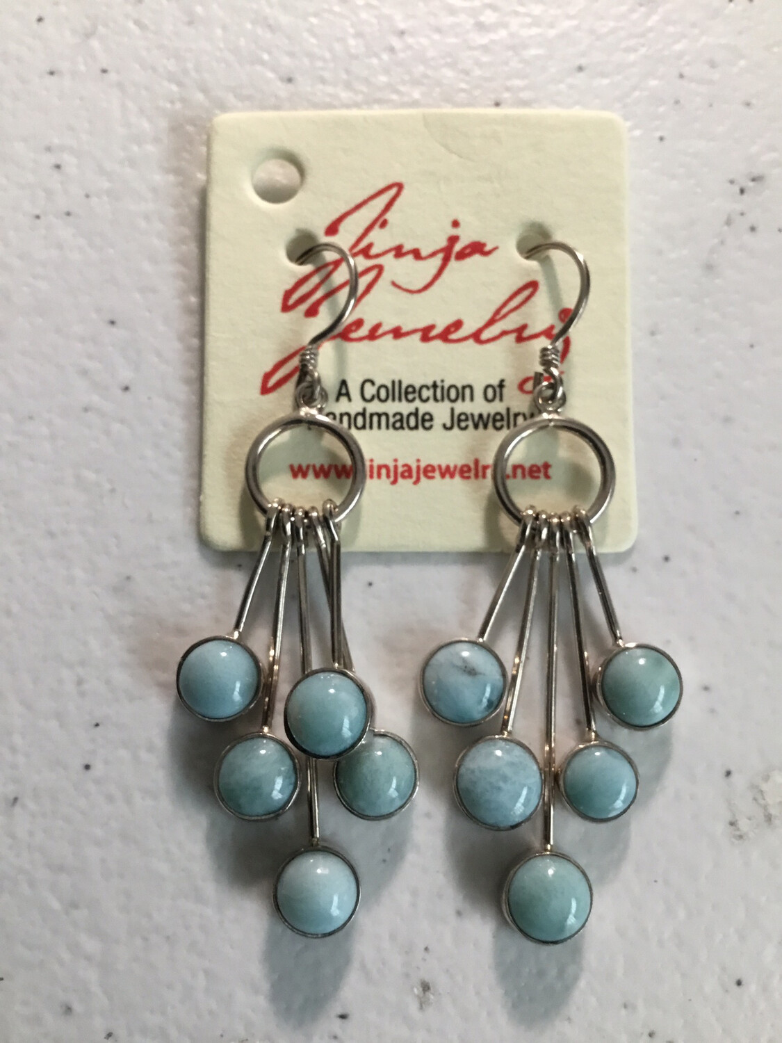 Larimar Sterling Silver Five Drop Earrings
