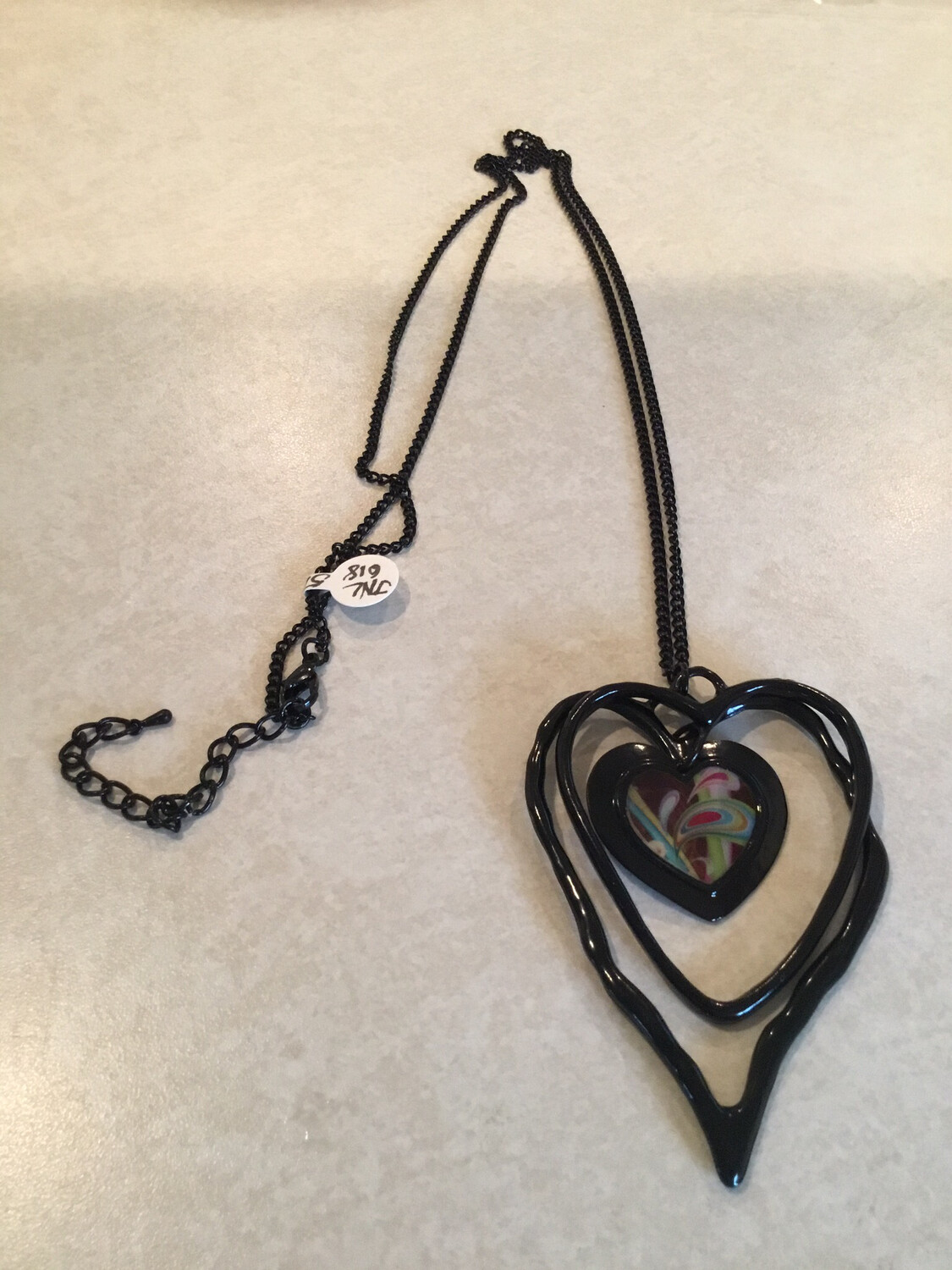 Long Black Necklace With Triple Black Hearts