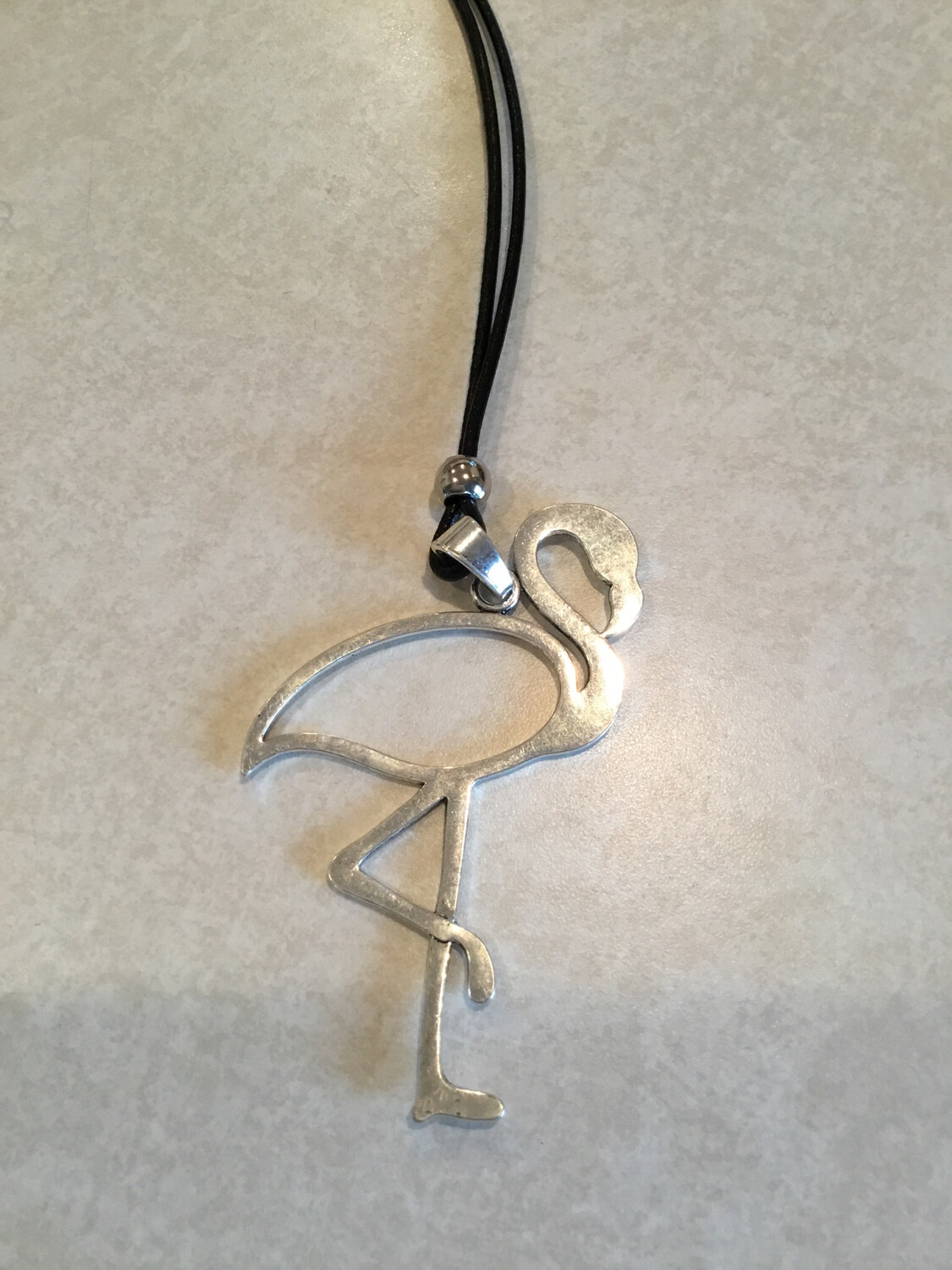 Black Leather Long Necklace With Flamingo Pendant