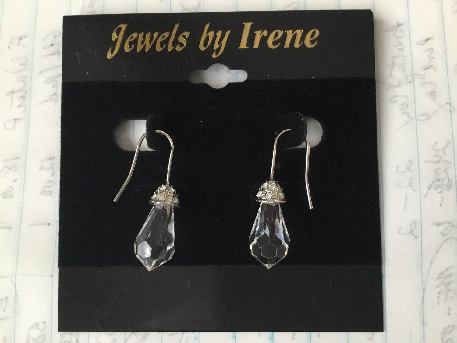 0-3119 Crystal Silver Drop Earrings