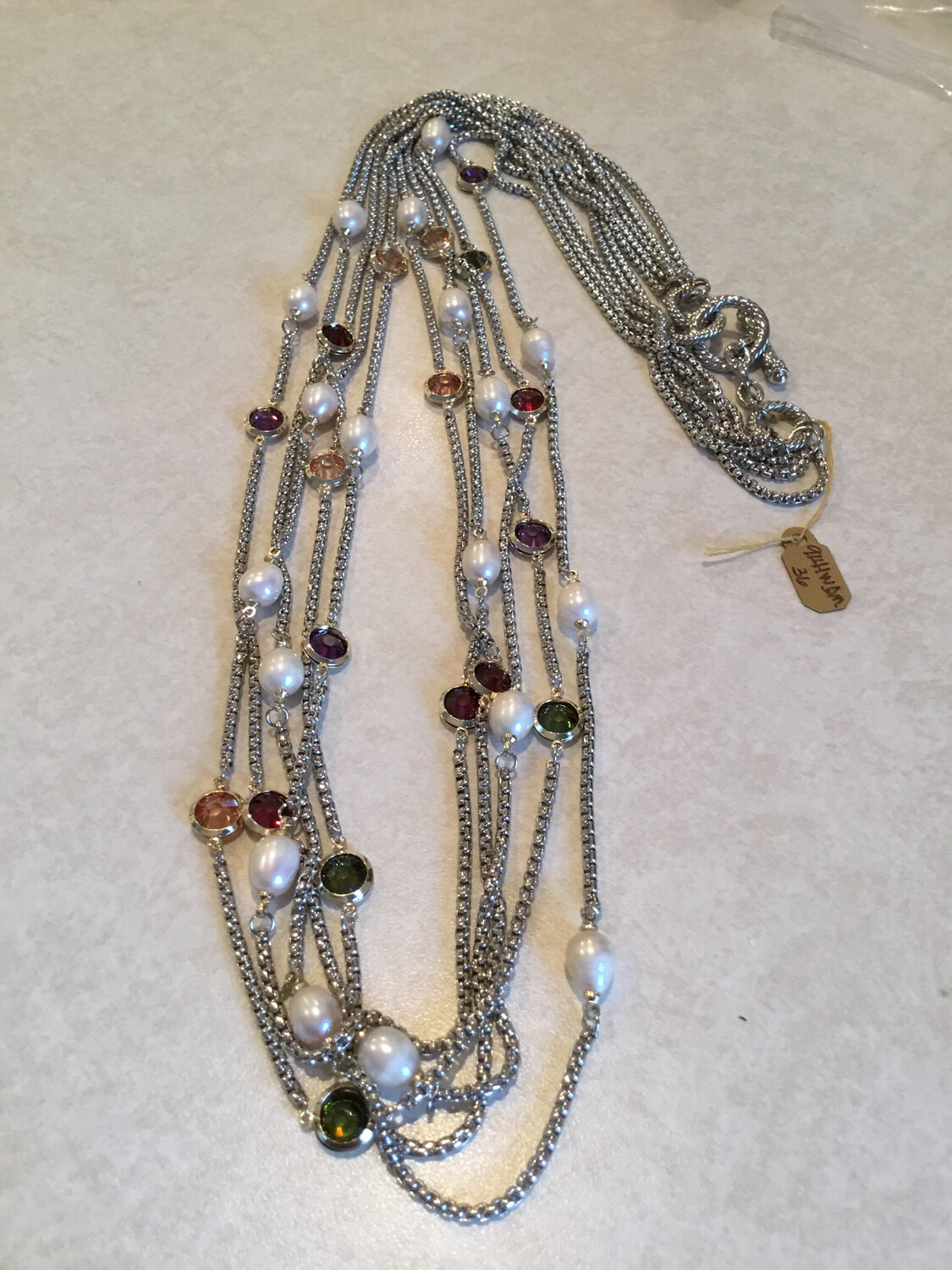 Five Layer Silver Necklace With Multi Color Gemstones And Pearls