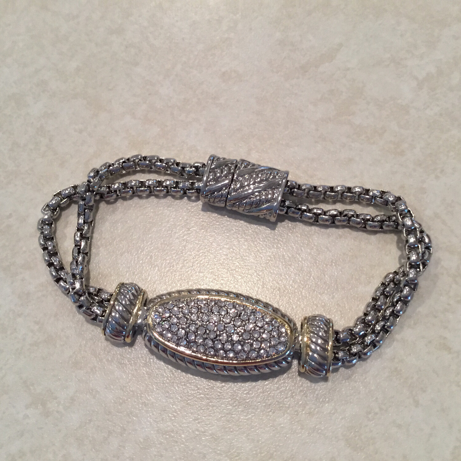Elegant Two Row Bracelet With Gold Pave Center.