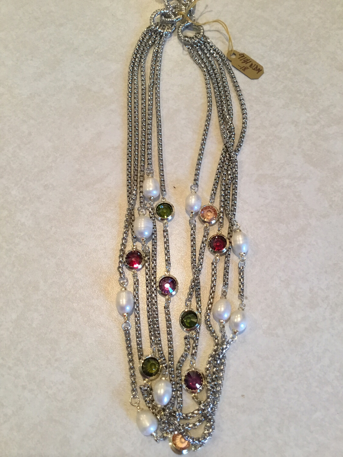 Five Layer Silver Necklace With Gemstones And Pearl