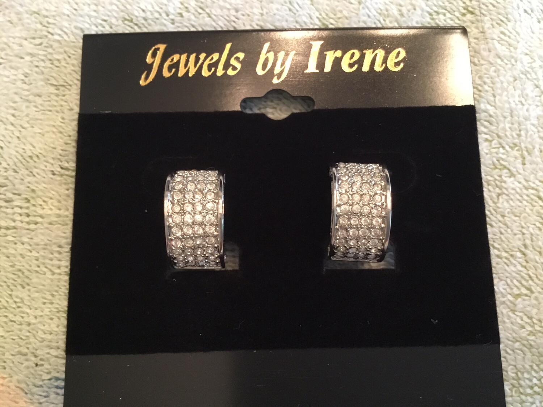 Beautiful Half Hoop Pave Crystal Clip Earrings