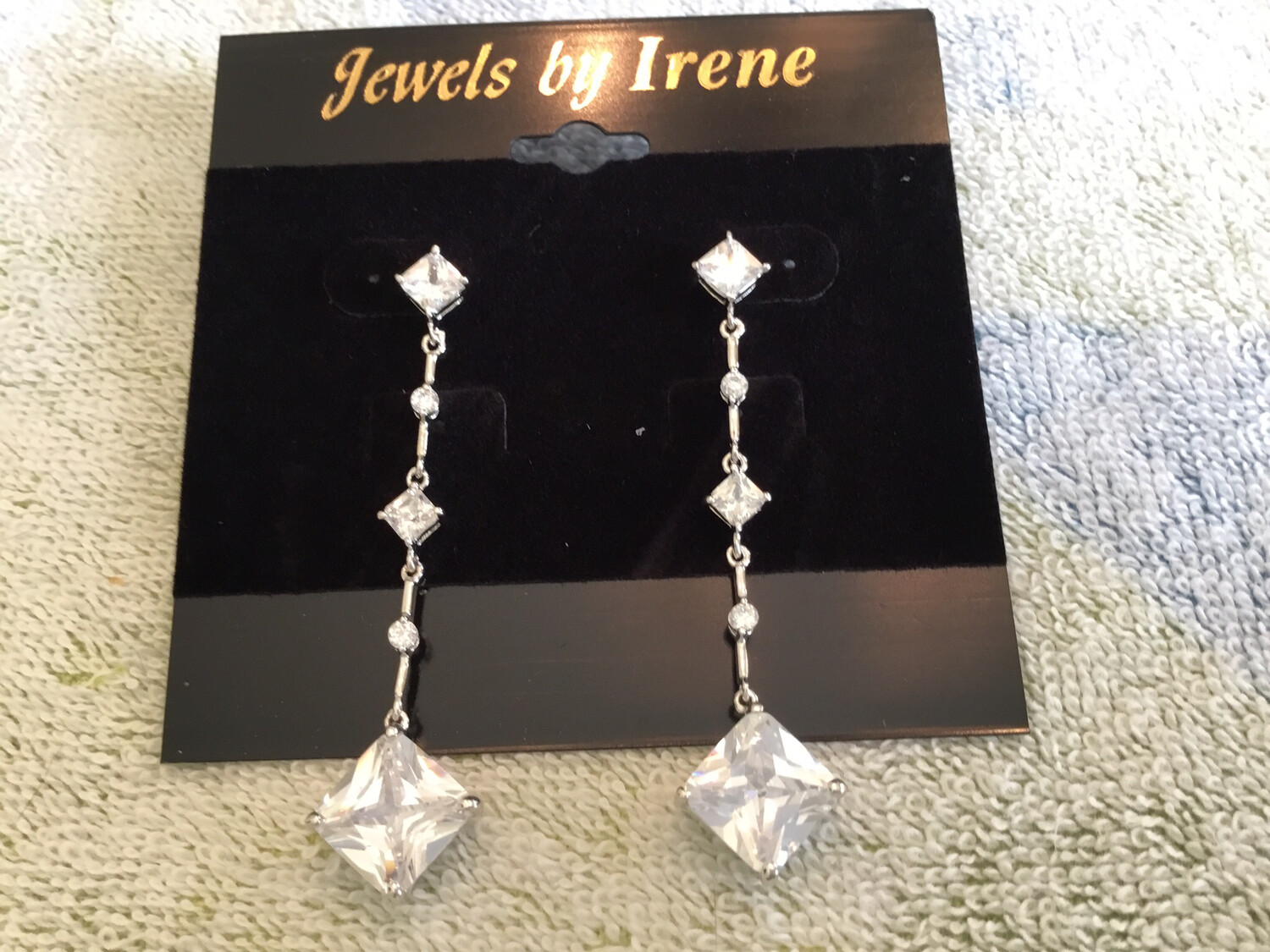 Long Square Crystal Post Earrings