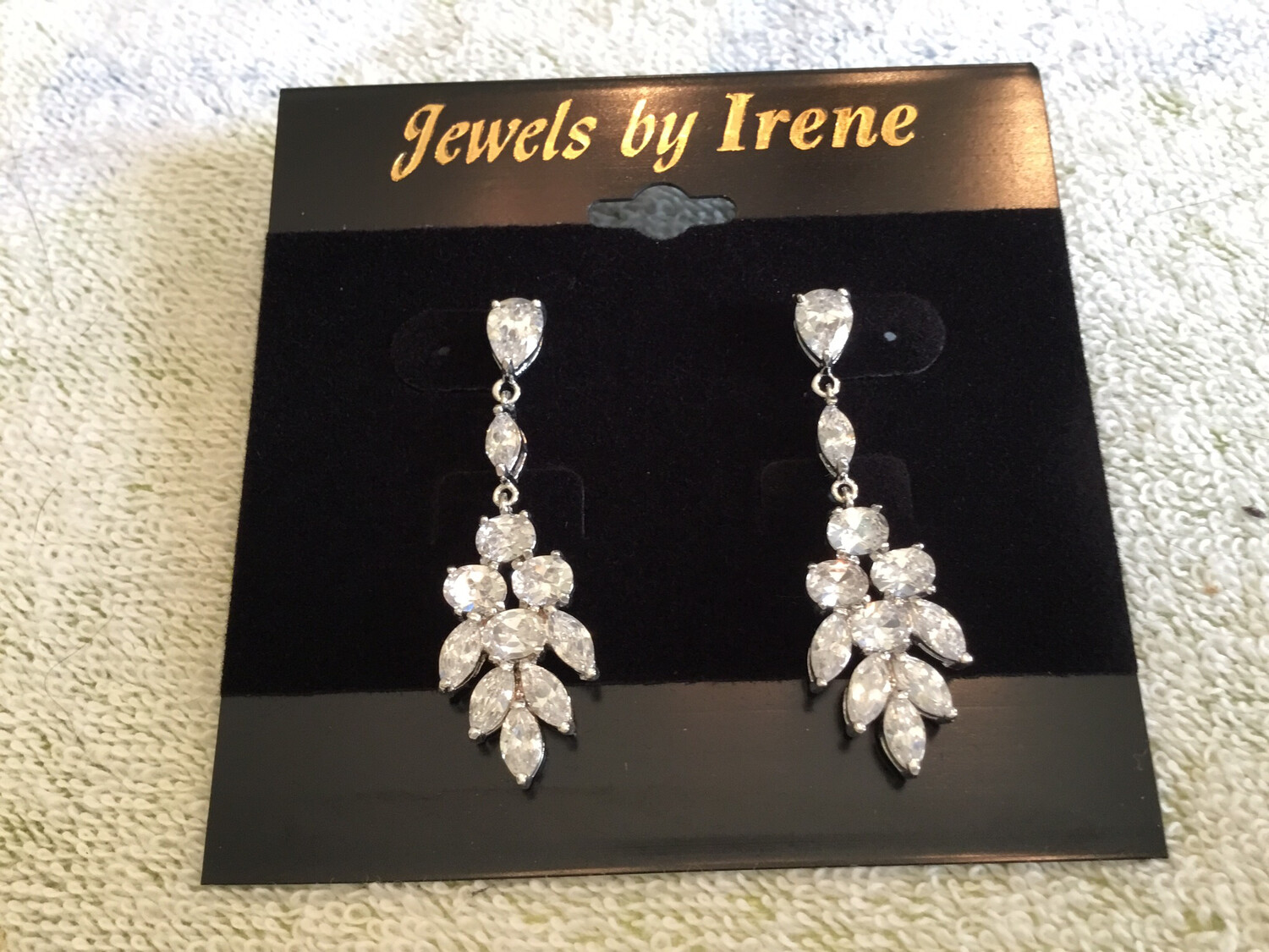 Teardrop Crystal With Elegant Flower Crystal Earrings