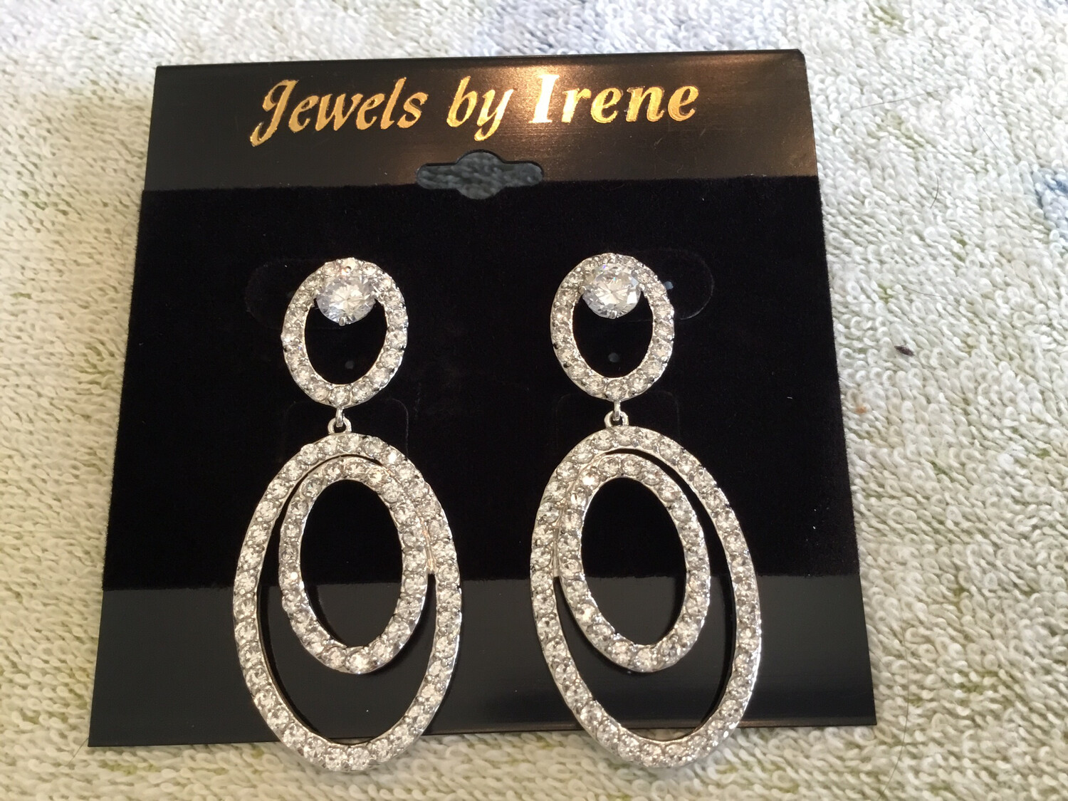 Three Triple Ovals With Pave Crystals