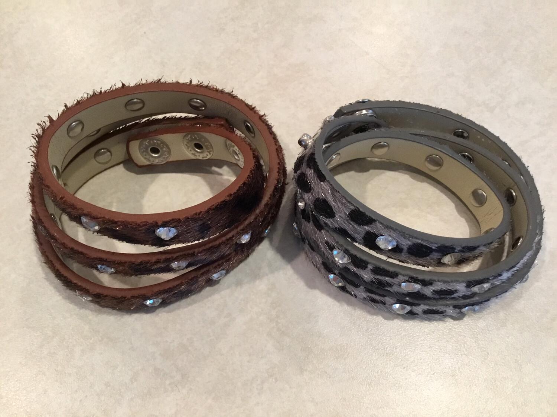 Leopard Print Crystal Wrap Bracelet