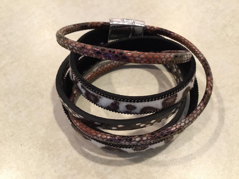 Two Round Wrap Lepoard Print Bracelet
