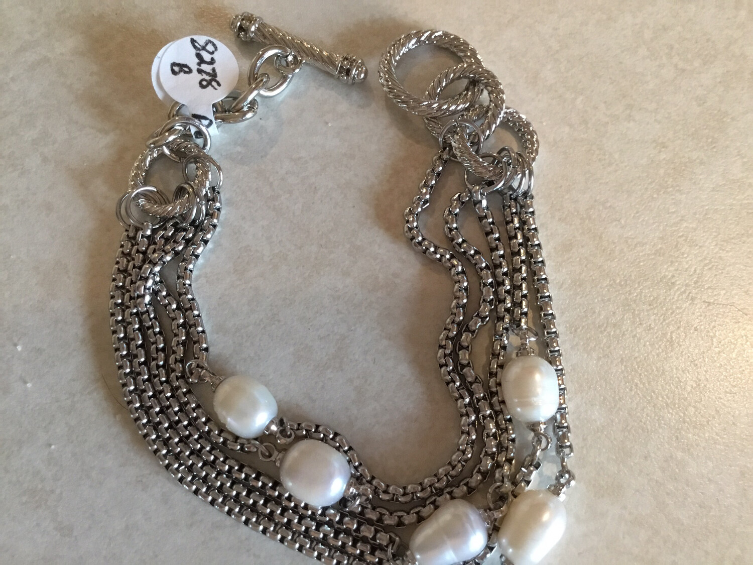 BR 5 STRAND BOX CHAIN WITH PEARL 7IN