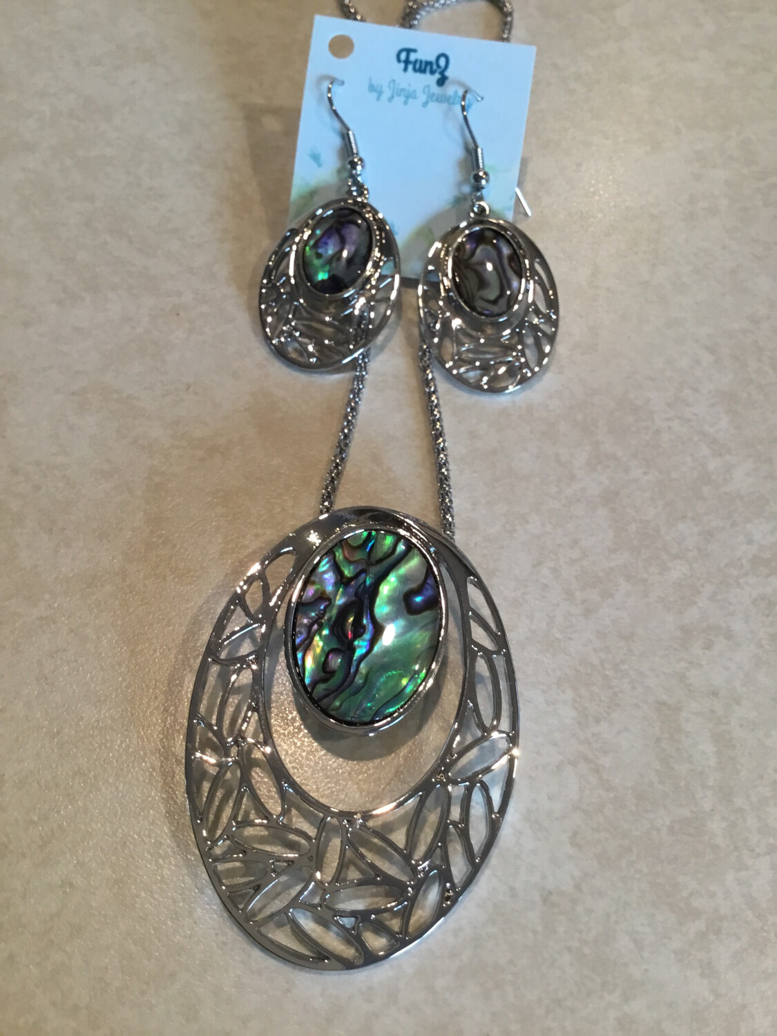 Oval With Beautiful Abalone Necklace And Earring Set