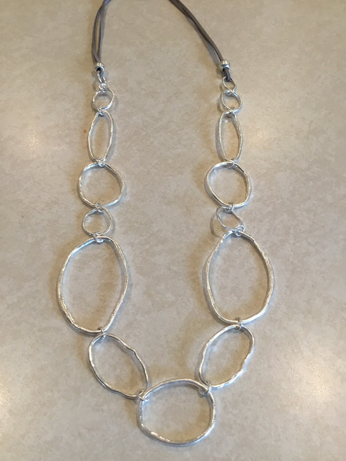 Gray Leather Long Necklace With Irregular Ovals