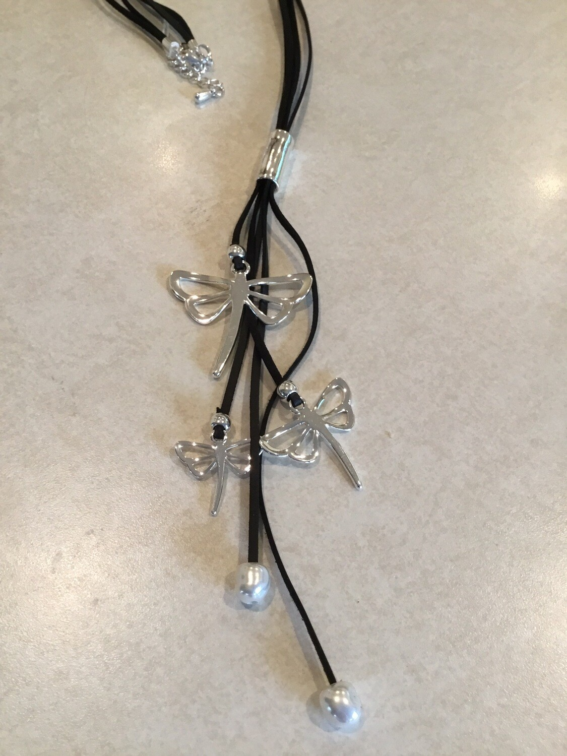 Black Leather With Three Dragonflies And Pearls
