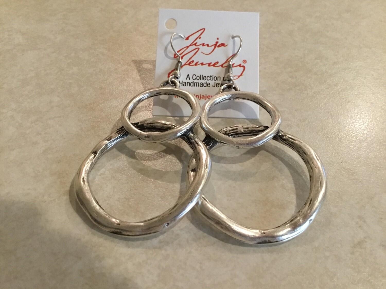 Pewter Circle Earrings