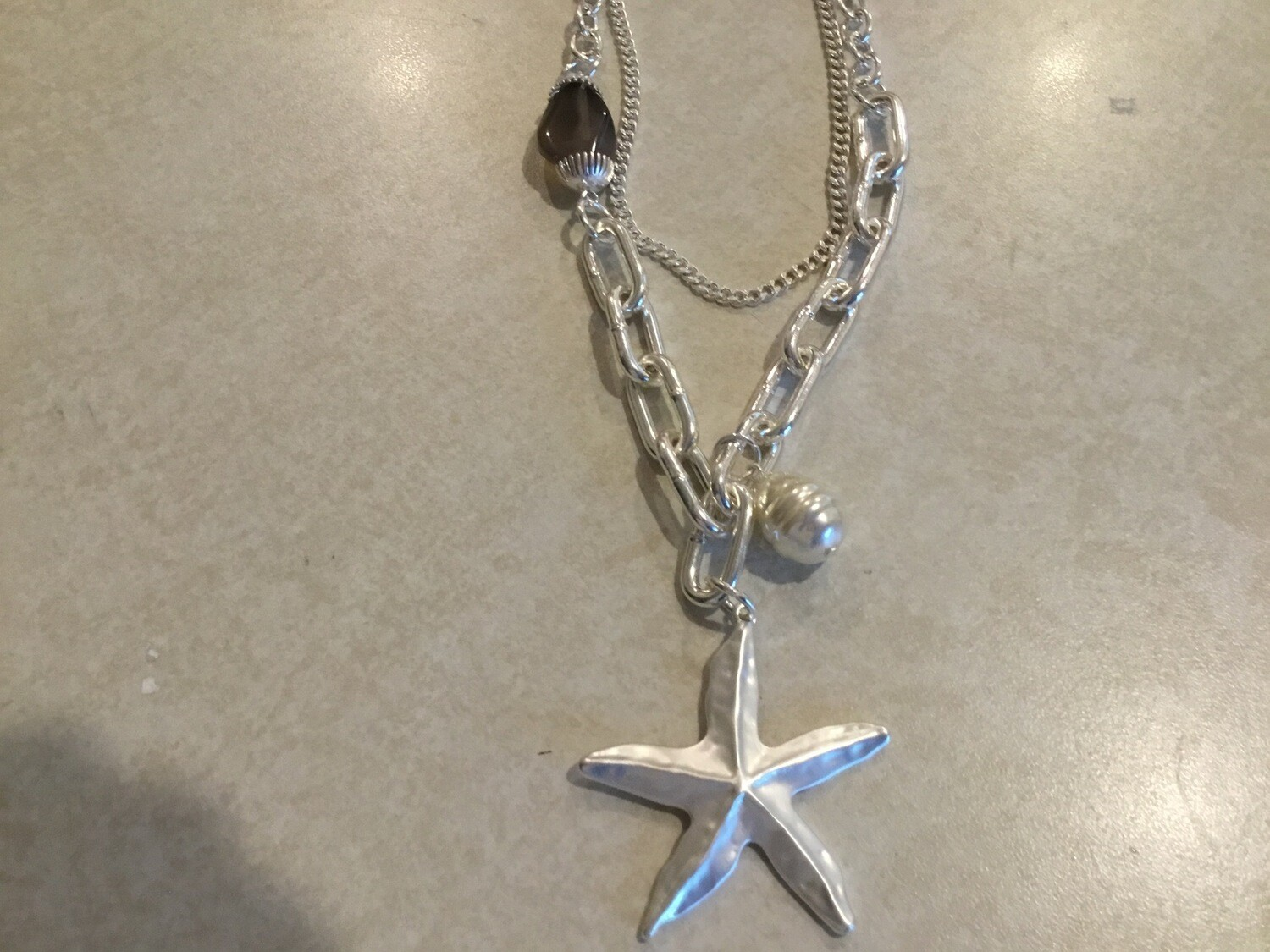 Double Silver Necklace With Starfish And Pearl