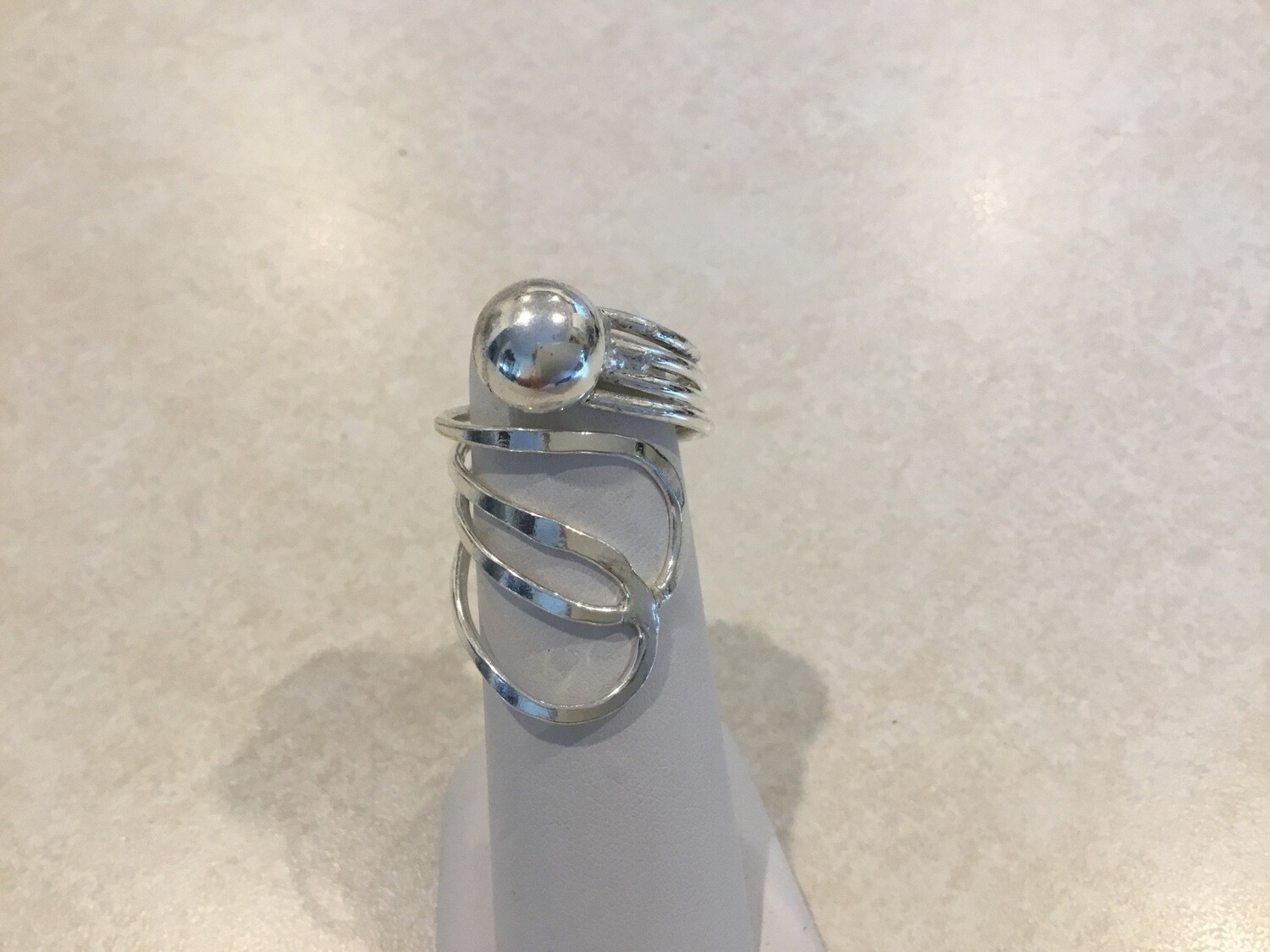 Silver Adjustable Wide Ring Two Loops And Dot