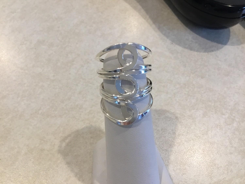 Silver Adjustable Wide Three Loop Ring