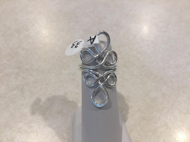 Silver Adjustable Multi Fancy Loop Ring