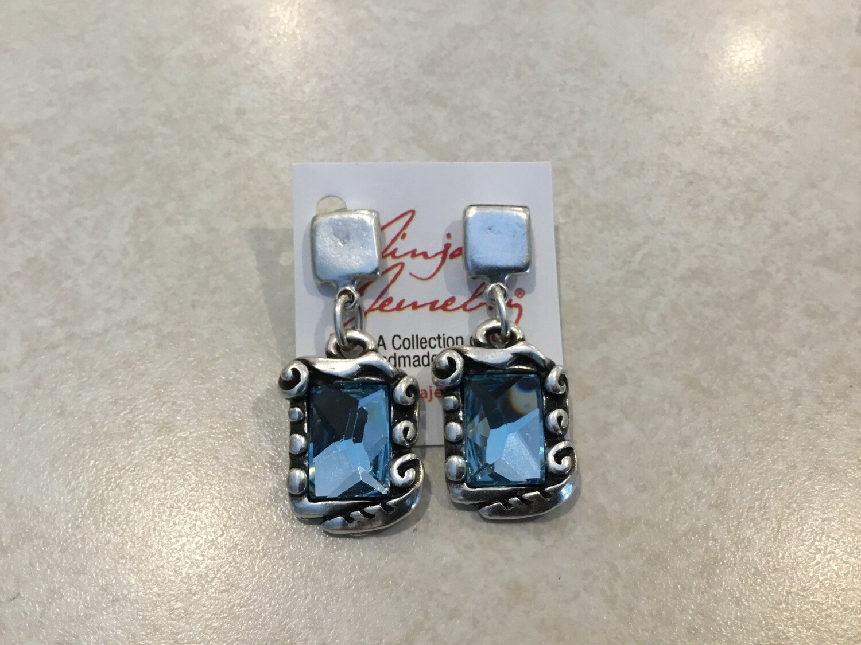 Handmade Pewter Earrings With Blue Crystal
