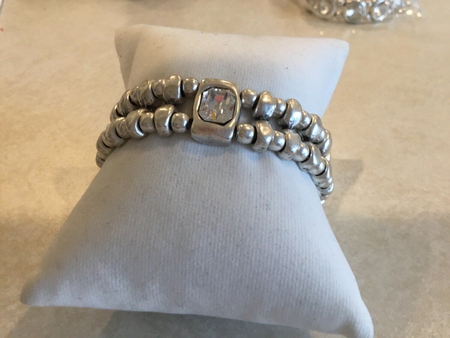 Handmade Pewter Stretch Bracelet With Square Clear Crystal
