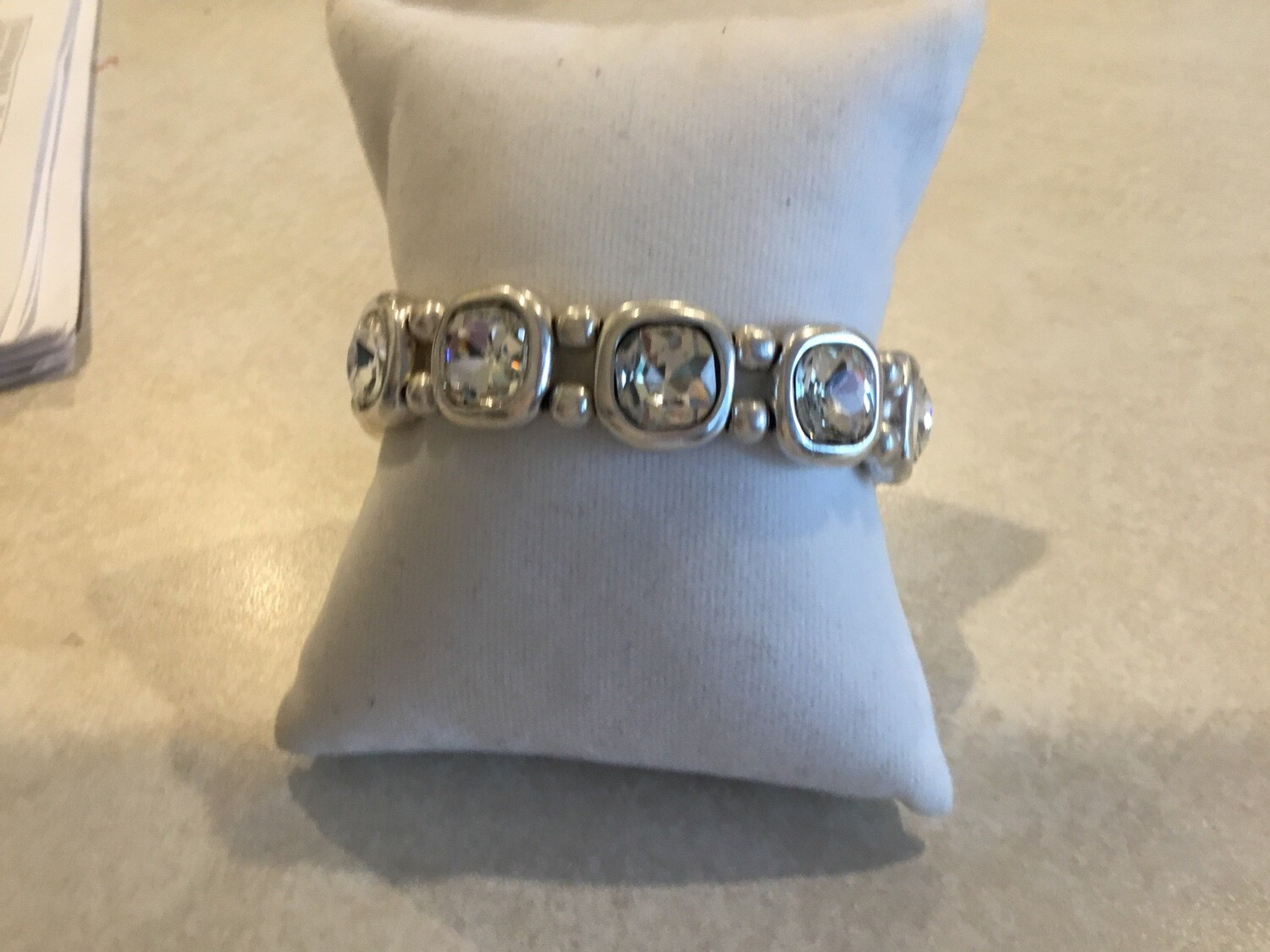 Handmade Pewter Bracelet With Seven Beautiful Clear Crystals