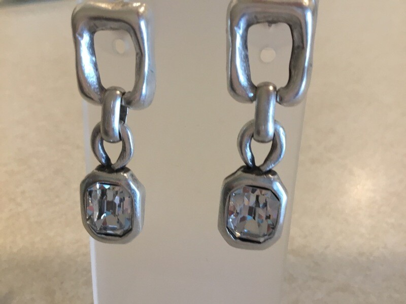 Handmade Pewter Earrings With Beautiful Clear Small Rectangular Crystals