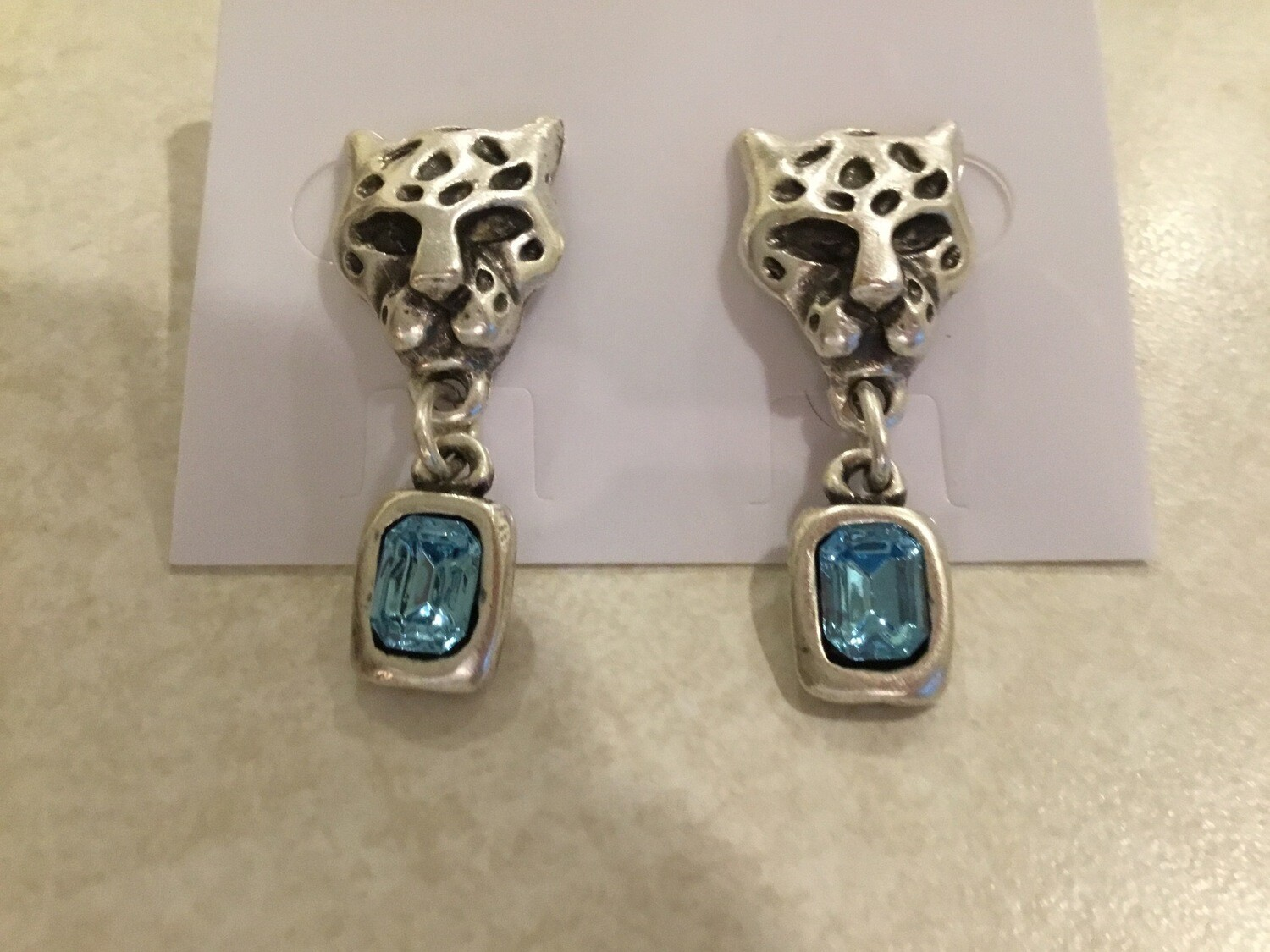 Handmade Pewter Earrings With Cheetah And Blue Crystals