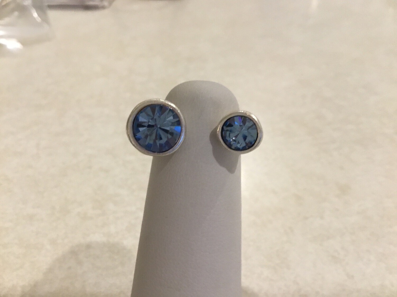 Handmade Pewter Ring With Beautiful Blue Crystals