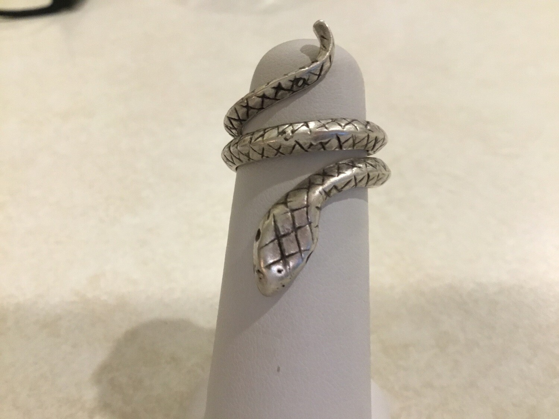 Handmade Pewter Adjustable Snake Ring