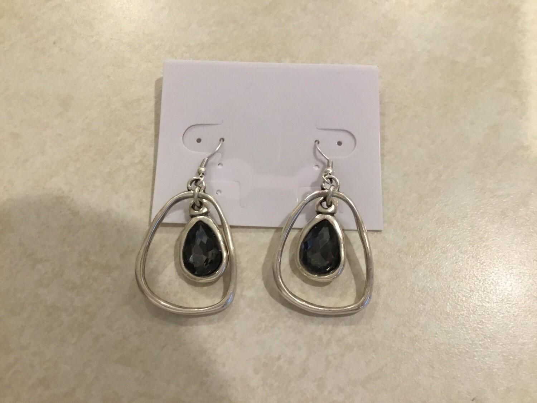 Handmade Pewter Earrings With Dark Crystal