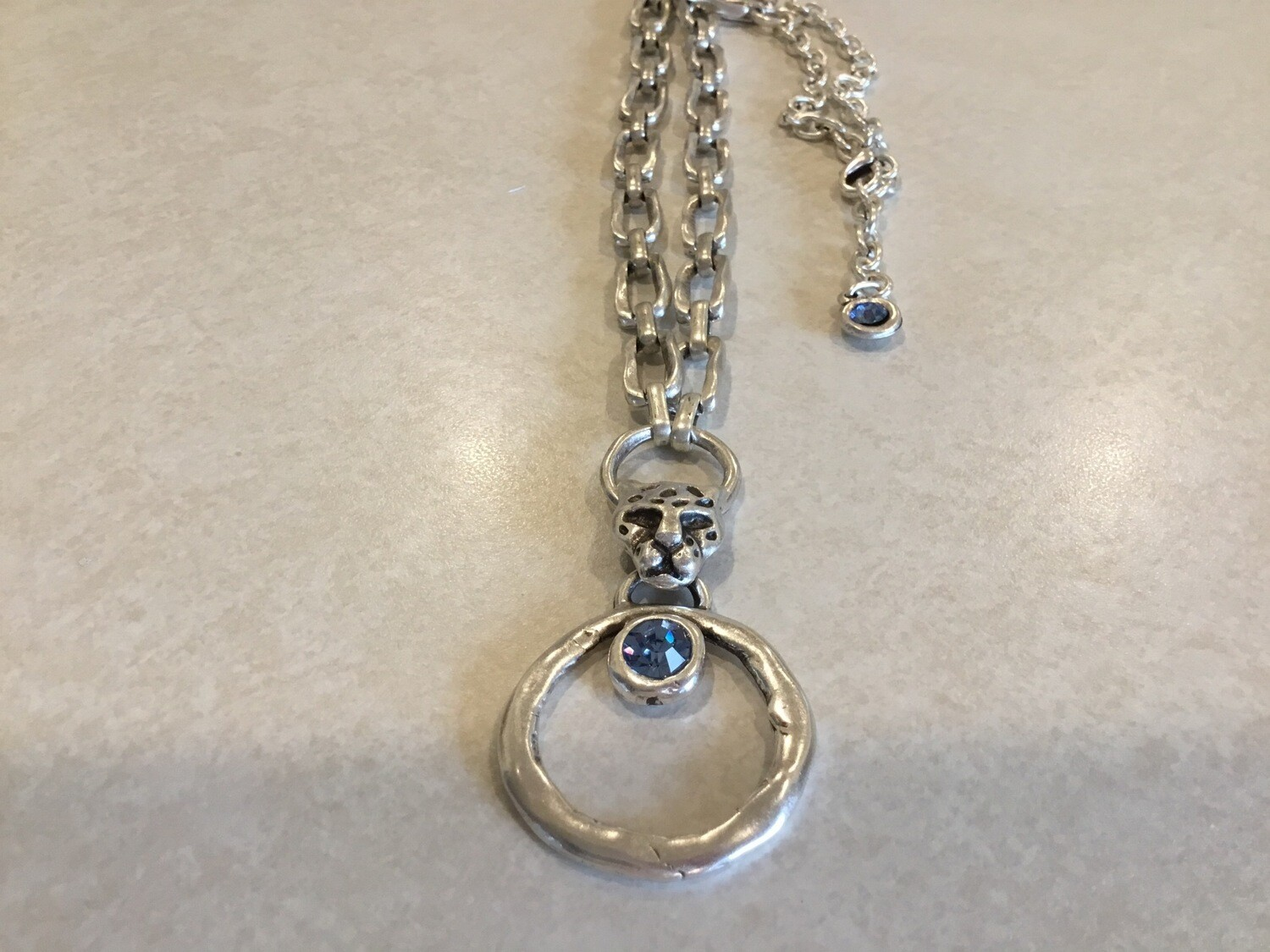 Handmade Long Necklace With Cheetah And Blue Crystals