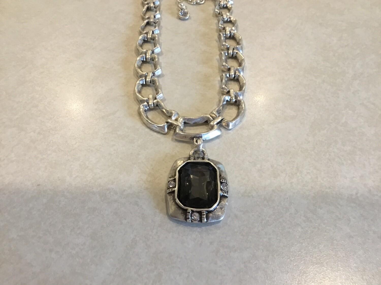 Handmade Short Necklace With Elegant Large Dark Crystal Pendant