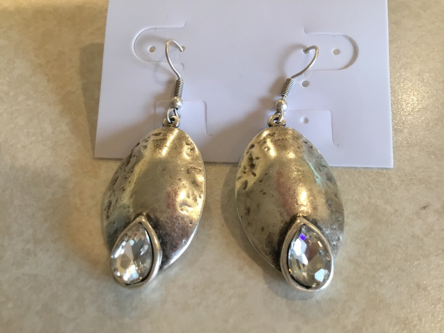 Handmade Pewter  Oval Earrings With Oval Clear Crystals
