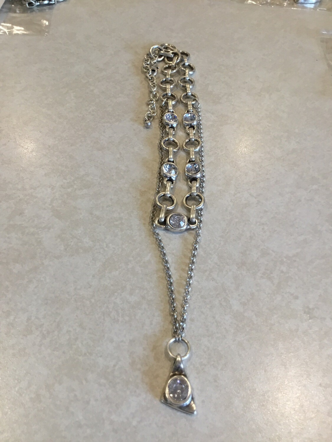 Handmade Pewter Double Necklace With Clear Crystals