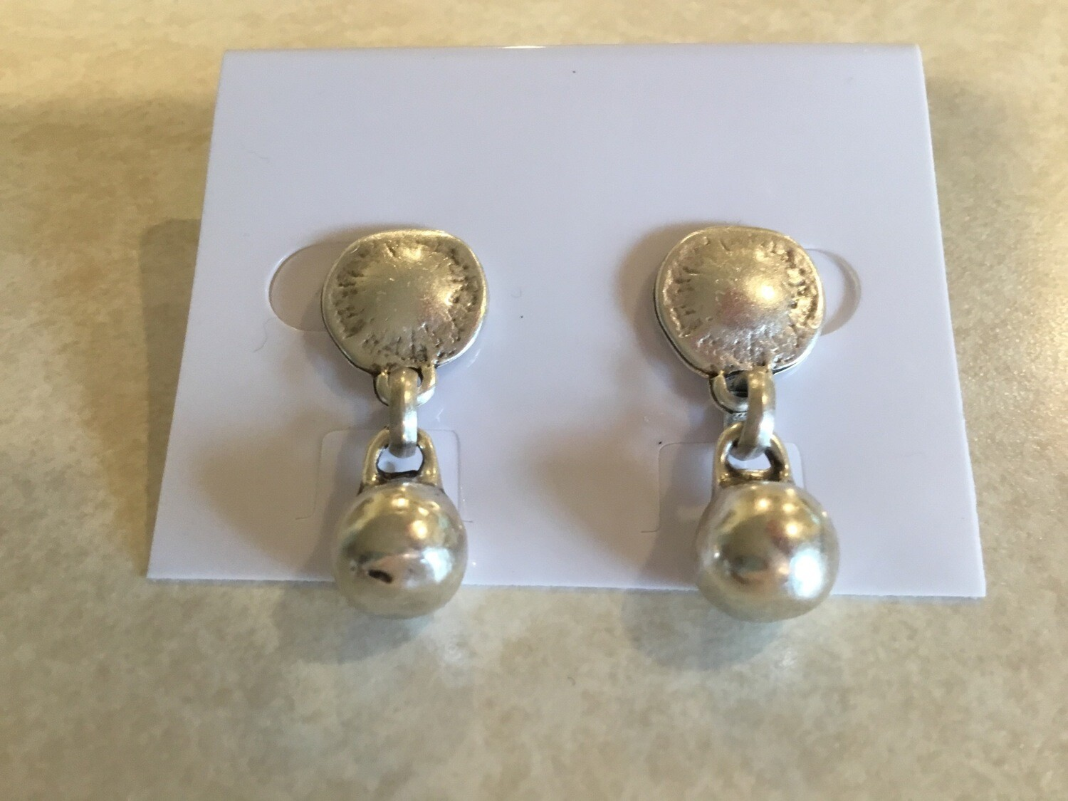 Handmade Pewter Post  Earrings With Pewter Ball Drop