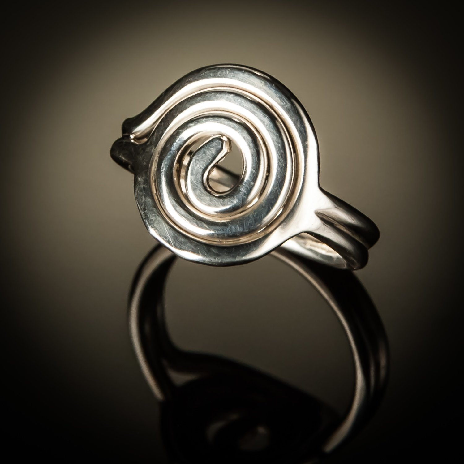 Sterling Silver Spiral Circle Ring